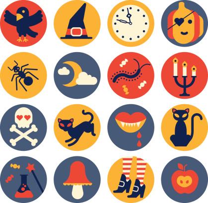 Icon set with halloween silhouettes.
