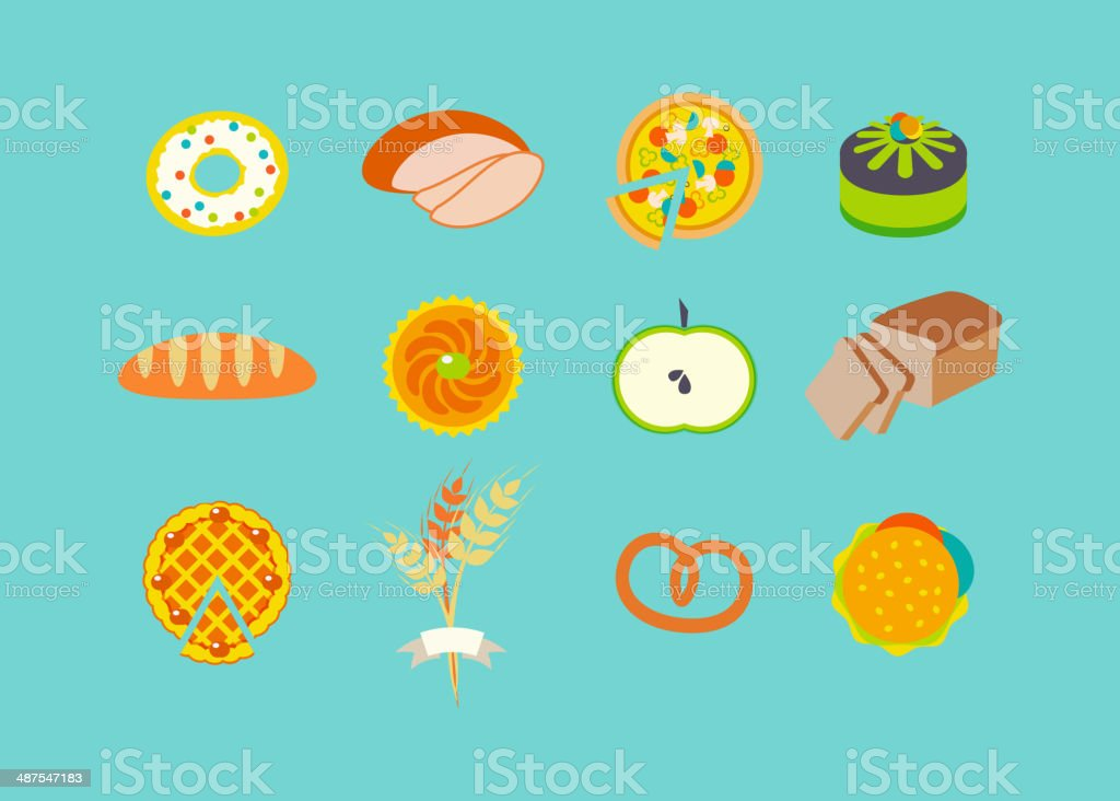 Icon set with pastries. royalty-free stock vector art