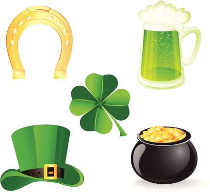 Icon set with symbols for St. Patrick's day
