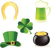 The vector illustration contains icon set with symbols for St. Patrick's day. Also includes high-res JPEG files.