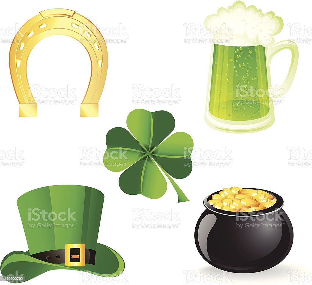 Icon set with symbols for St. Patrick's day vector art illustration