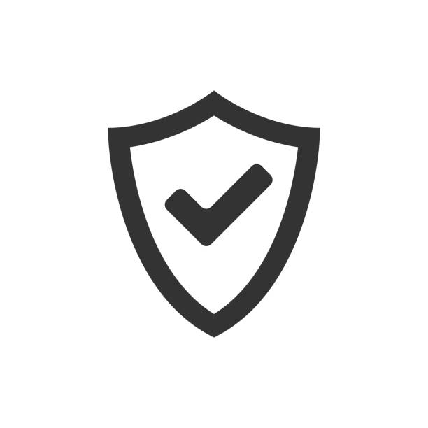 BW icon - Shield check Shield icon with checkmark in single grey color. Protection guard safety safety american football player stock illustrations