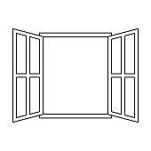 icon sign open window vector outline open window frame