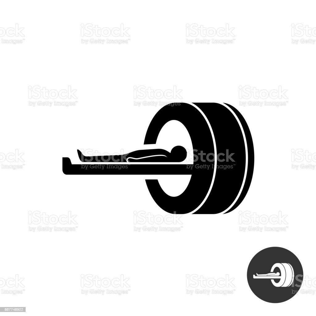 MRI icon. Simple black silhouette symbol of medical MRI procedur vector art illustration