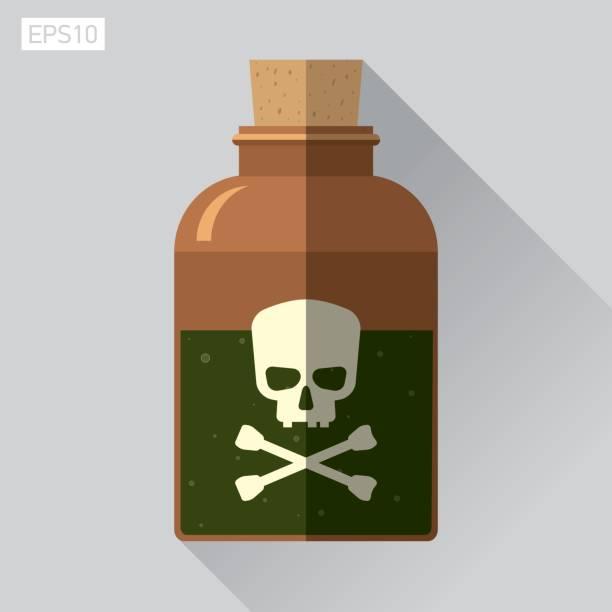 illustrazioni stock, clip art, cartoni animati e icone di tendenza di icon skull in flat style, jolly roger, bottle of poison, vector design element for you project - deadly sings