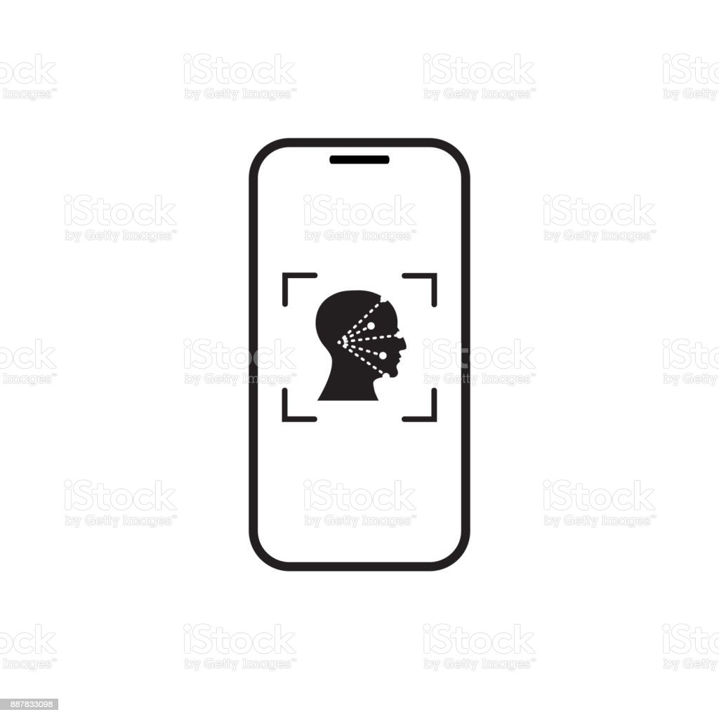 Icon Smart Phone Scan Face Recognition System Biometric Identification Concept vector art illustration