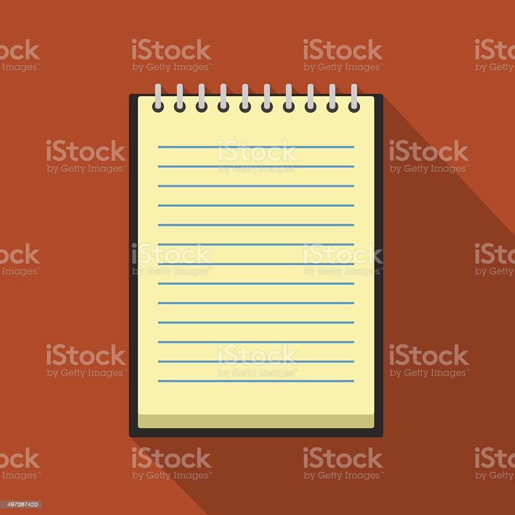 Icon square shape of notebook with spiral in flat design vector art illustration