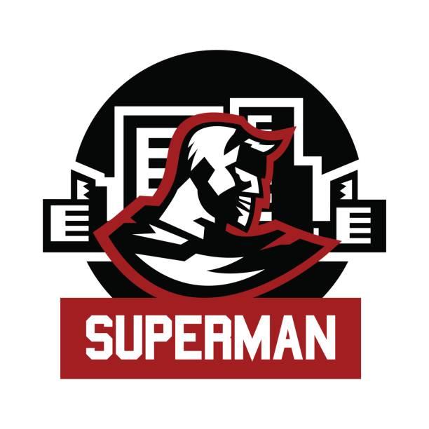 symbol-superman. superhelden-kostüm, kap, stadt. vektor-illustration. flachen stil - gerechtigkeitsliga stock-grafiken, -clipart, -cartoons und -symbole