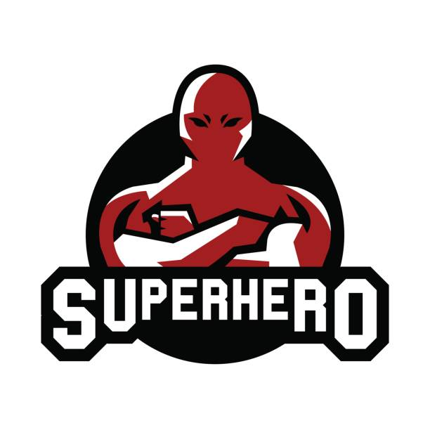 symbol-superman. superhelden-kostüm. verteidiger stadt. kämpfer für gerechtigkeit. vektor-illustration. flachen stil - gerechtigkeitsliga stock-grafiken, -clipart, -cartoons und -symbole