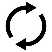 Icon swap resumes, spinning arrows in circle, vector symbol sync, renewable product exchange, change renew