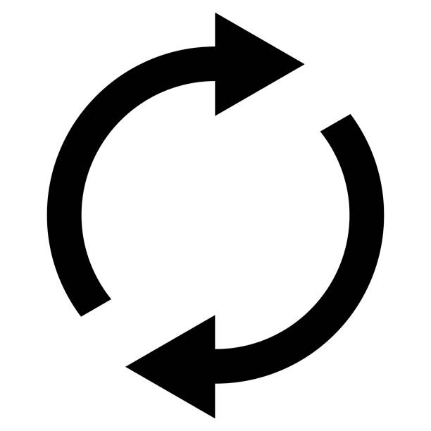 icon swap resumes, spinning arrows in circle, vector symbol sync, renewable product exchange, change renew - koordynacja stock illustrations