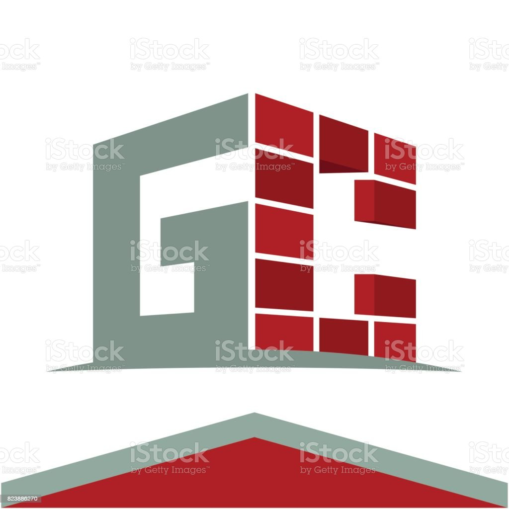 Icon Symbol For Construction Business With Initials Combination Of