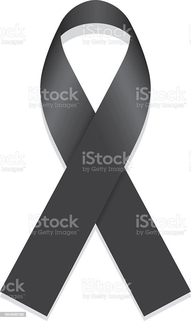Icon symbol of struggle and awareness, black ribbon vector art illustration
