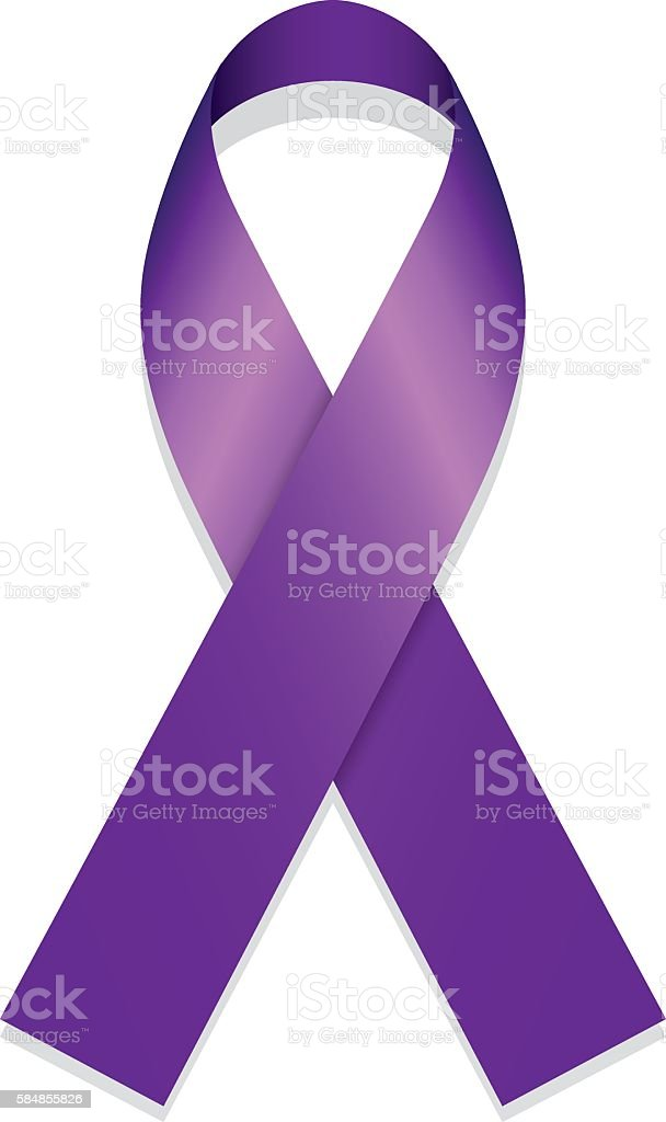 Icon symbol of struggle and awareness, purple ribbon vector art illustration