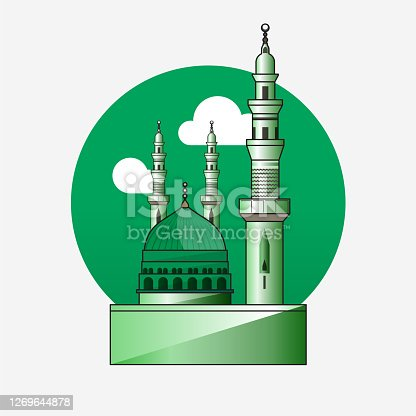 istock Icon/ Symbol of the Mosque of the Prophet in Medina, KSA (Al Masjid Al Nabawi). 1269644878