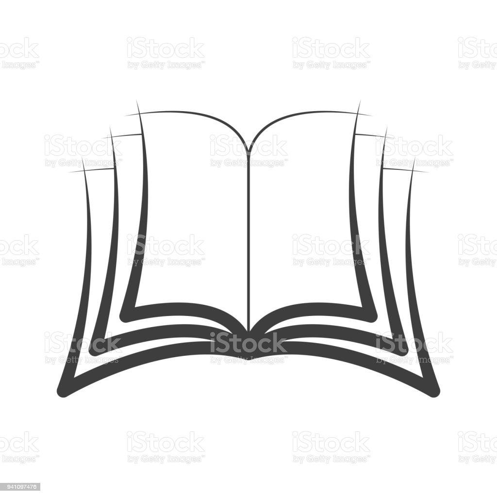 Icon Symbol Open Book Logo Vector Isolated Stock Vector