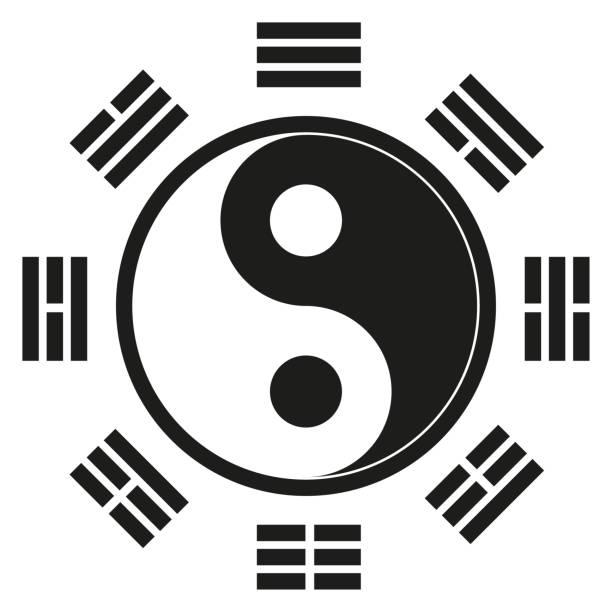 bildbanksillustrationer, clip art samt tecknat material och ikoner med ikon symbol, yin yang, representerar en orientalisk filosofi, orientalisk medicin. perfekt för utbildnings-och institutions material - acupuncture