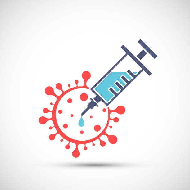 stockillustraties, clipart, cartoons en iconen met de spuit van het pictogram met vaccin en covid-19 virus - vaccin