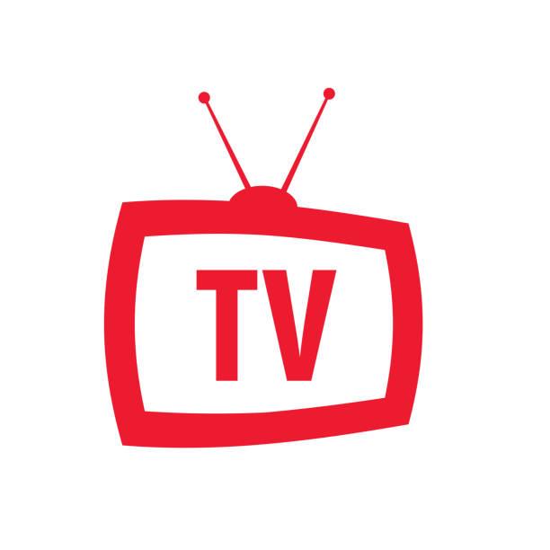 icon television with antenna in retro style icon television with antenna in retro style with words TV television set stock illustrations