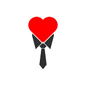 Icon tie and a heart in the trendy flat style isolated on white background. A symbol of love and business vector illustration