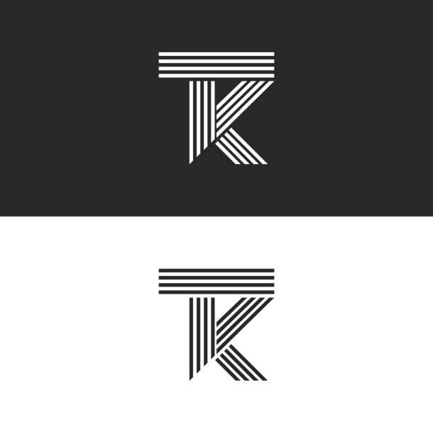 圖示 tk 字母的線性樣式, 組合重疊兩個字母 t 和 k。黑白平行線 kt 最小風格會徽 icontype 設計範本。 - k logo 幅插畫檔、美工圖案、卡通及圖標