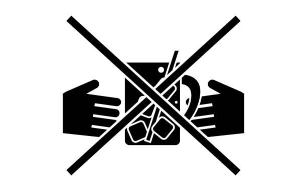 illustrazioni stock, clip art, cartoni animati e icone di tendenza di icon to warn you to swirl - hand on glass covid