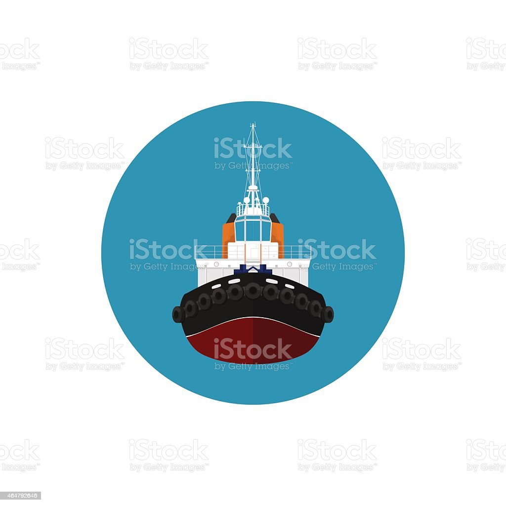 Icon tugboat for mooring of other courts vector art illustration
