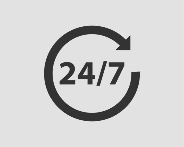 ilustrações, clipart, desenhos animados e ícones de vetor do ícone 24/7. 24 horas de relógio de serviço. - dia do cliente