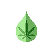 Cannabis oil graphic icon. Sign CDB oil drop with cannabis leaf  isolated on white background. Medical symbol. Vector illustration