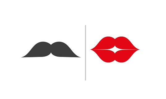 WC icon. Toilet sign for public navigation. Creative international restroom symbol with black mustache and red lips