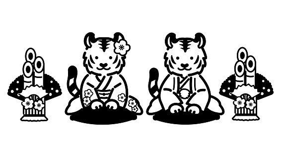 Icon vector illustration material of New Year's card of tiger couple bowing in kimono in 2022 / tiger year / monochrome, one color