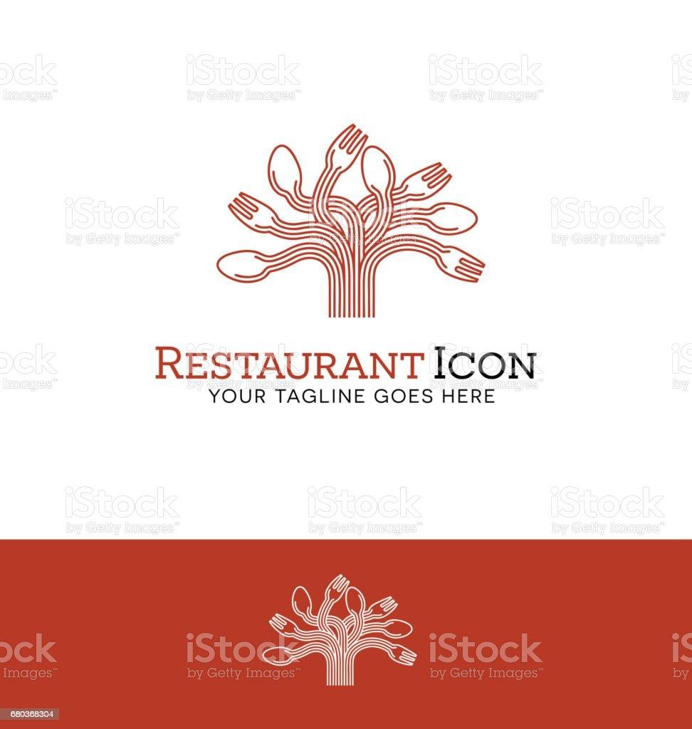 icône illustration vectorielle d'une cuillère et une fourchette arbre - Illustration vectorielle