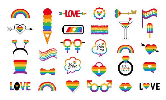 LGBT icon vector set pride flag  rainbow