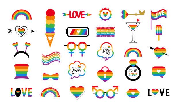 ilustrações, clipart, desenhos animados e ícones de vetor de ícone lgbt define bandeira do orgulho arco-íris - lgbt