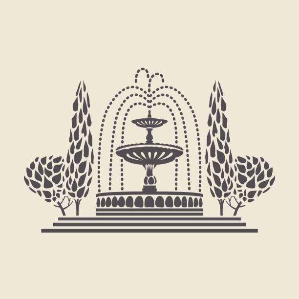 icon vintage park fountain with steps and trees - fontanna stock illustrations