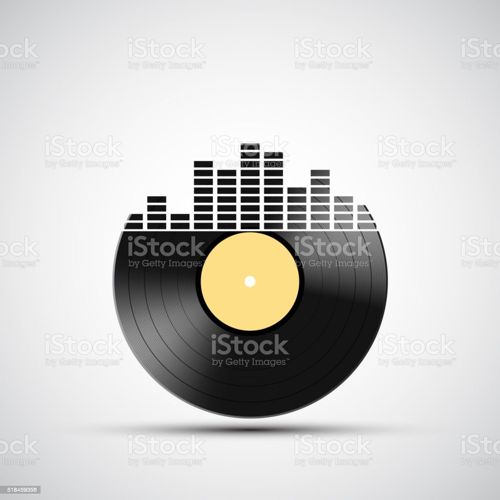 Icon vinyl record with a sound equalizer. vector art illustration