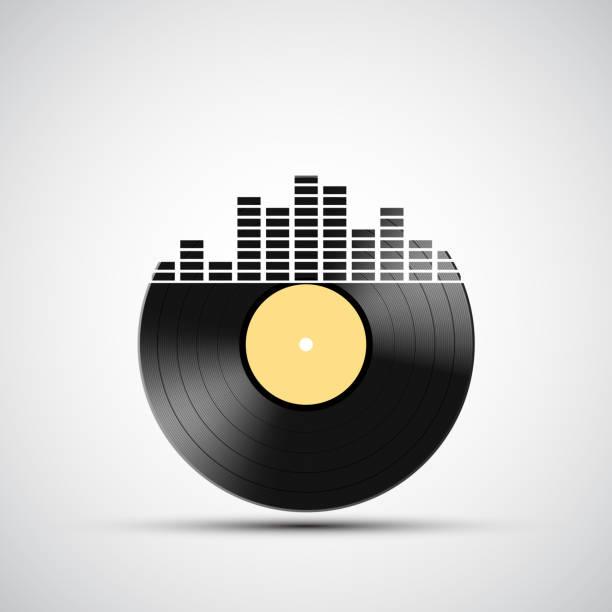 ilustrações, clipart, desenhos animados e ícones de ícone de vinil registro com um som equalizador. - toca discos