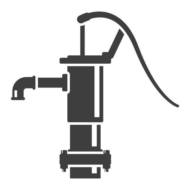 symbol-wassersäule. vintage-design. vektor auf weißem hintergrund. - stiftehalter stock-grafiken, -clipart, -cartoons und -symbole