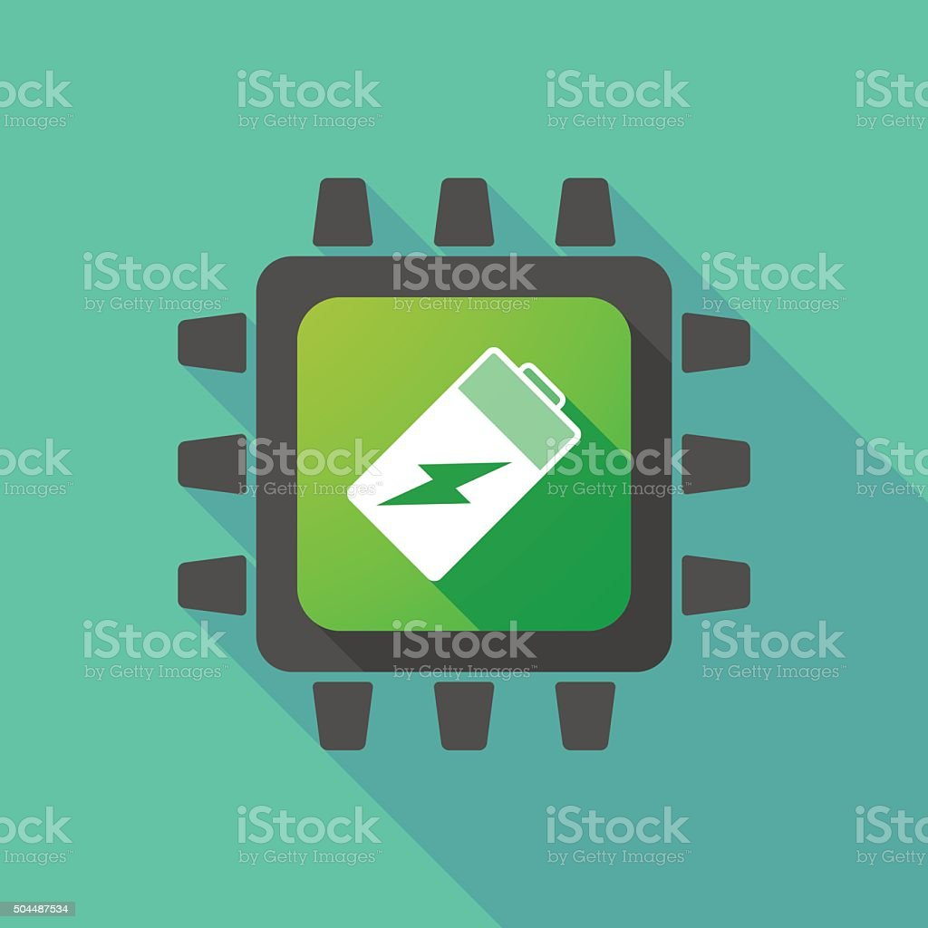 CPU icon with a battery vector art illustration