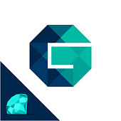 Icon with a diamond / polygonal concept with combination of initials letter G