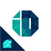 Icon with a diamond / polygonal concept with combination of initials letter I & D