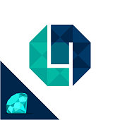 Icon with a diamond / polygonal concept with combination of initials letter L & N