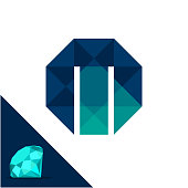 Icon with a diamond / polygonal concept with combination of initials letter M