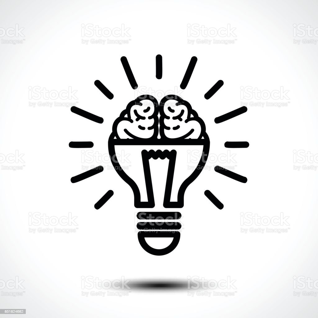 Icon With A Half Of Light Bulb And Brain Isolated On White ...
