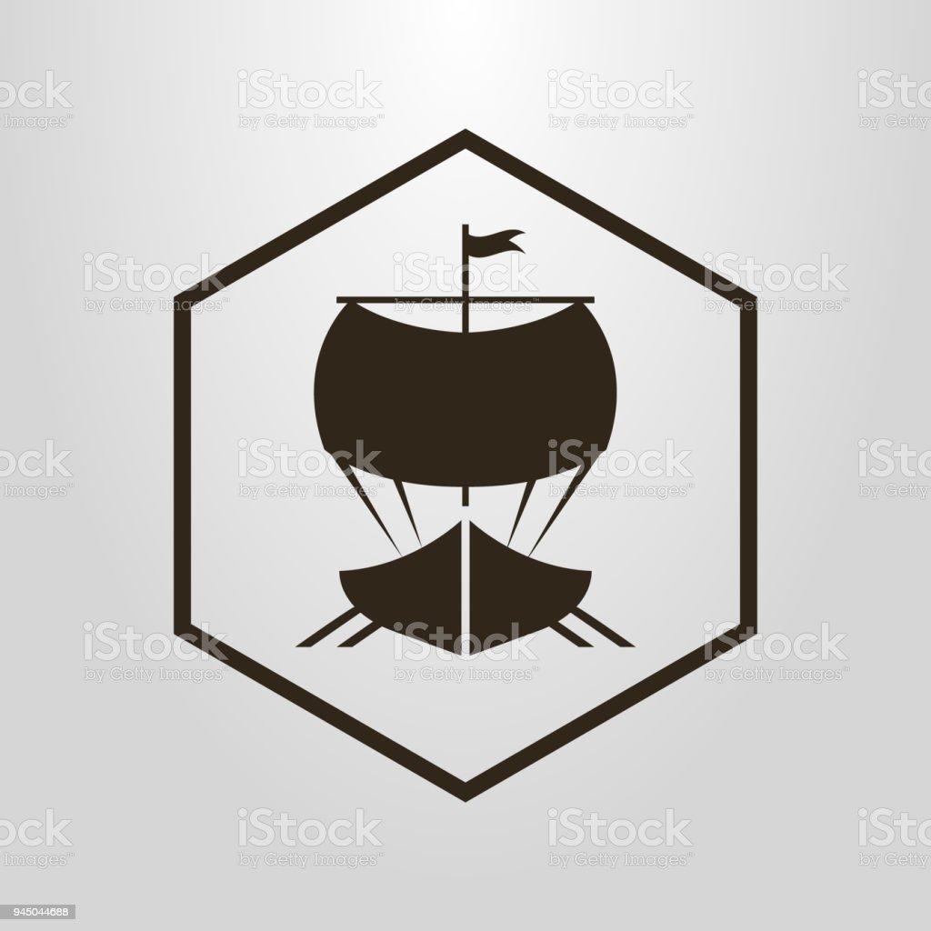 Icono Con Una Nave En Un Marco De Diamantes - Arte vectorial de ...