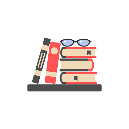 icon with a stack of books and textbooks and glasses,color image, sign, logo
