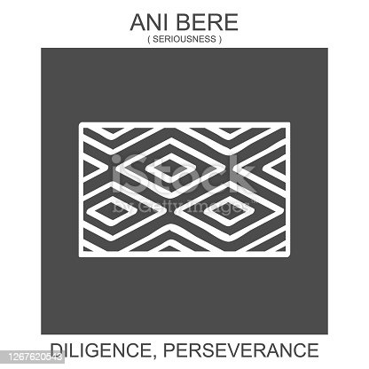 istock icon with african adinkra symbol Ani Bere. Symbol of Diligence and Perseverance 1267620543