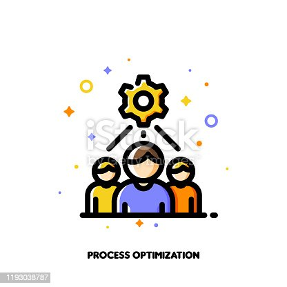 Icon with business team and gear as working process symbol for project development optimization concept. Flat filled outline style. Pixel perfect 64x64. Editable stroke