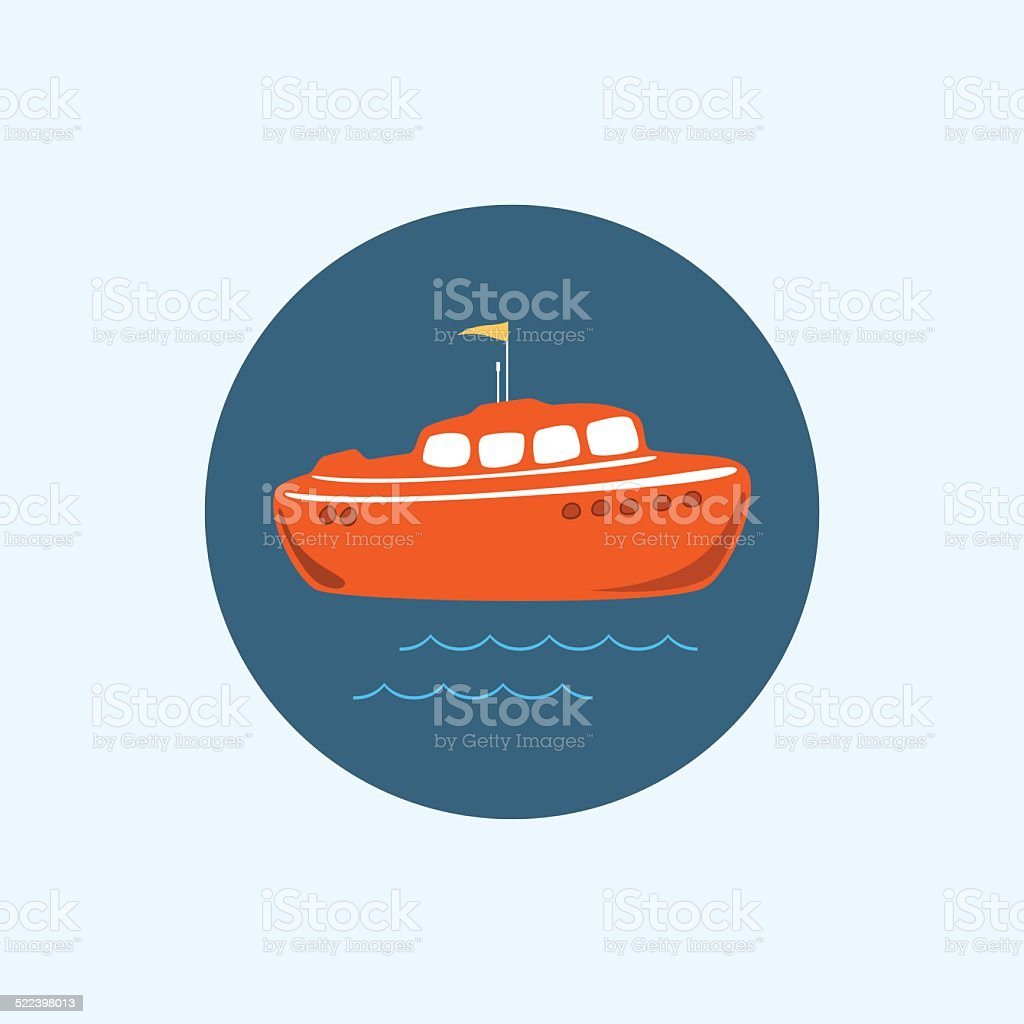 Icon with colored boat, vector illustration vector art illustration