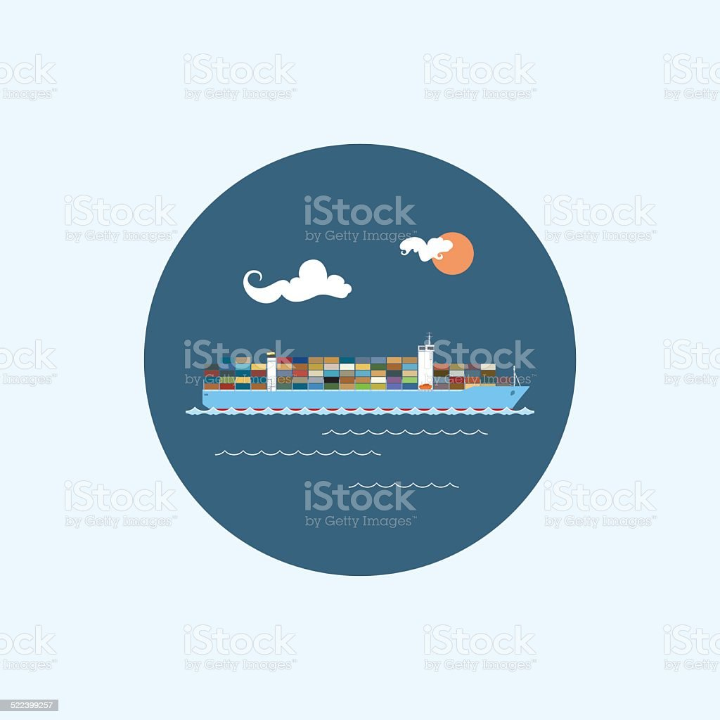 Icon with colored cargo container ship, vector illustration vector art illustration